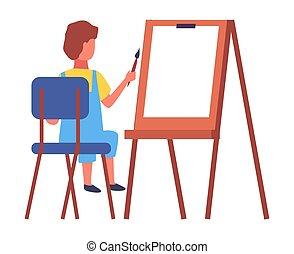 oktatás, ív, szék, aquarell, fogalom, gyermek, rajz, nagy, dolgozat, ülés, fest
