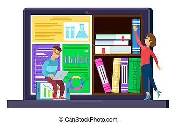 oktatás, internet, fogalom, könyvtár, tárolás, online
