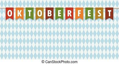 oktoberfest, bajorország, struktúra, lobogó, zászlók, háttér, fél