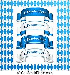 oktoberfest, illustration., fesztivál, háttér., vektor, szalagcímek, fehér