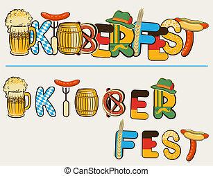 oktoberfest, szöveg, ábra, elszigetelt, lettersl., vektor, sör, tervezés, fehér