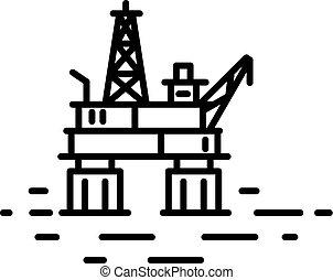 olaj, vagy, part felől, lakás, emelvény, lineáris, ábra, gáz