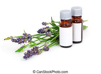 olaj, virág, levendula, elszigetelt, aromatherapy, háttér, fehér
