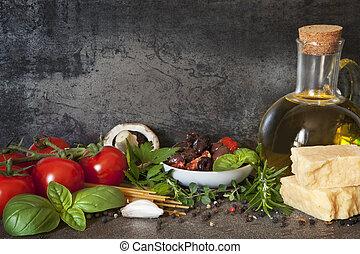 olasz, háttér, élelmiszer