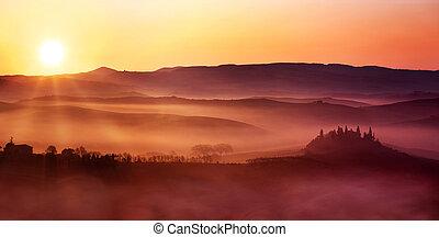 olasz, táj, hajnalodik, vidéki táj