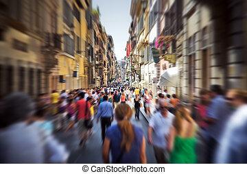 olasz, utca, tolong, keskeny