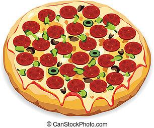 olasz, vektor, pizza