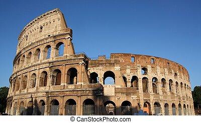 olaszország, amfiteátrum, híres, rome(flavian, amphitheatre), kolosszeum, vagy