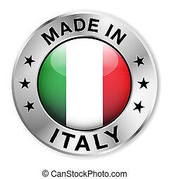 olaszország, elkészített, jelvény, ezüst