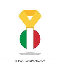 olaszország, -, elszigetelt, ábra, lobogó, vektor, háttér, fehér, érem