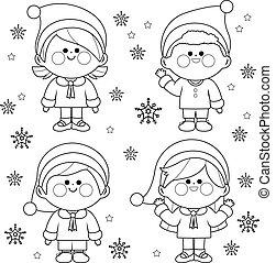 oldal, öltözött, csoport, színezés, white christmas, costumes., gyerekek, szent, fekete, klaus, vektor