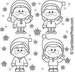 oldal, csoport, színezés, white christmas, costumes., gyerekek, szent, fekete, klaus, vektor