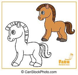 oldal, háttér, körvonalazott, karikatúra, white ló, szín, csinos, színezés