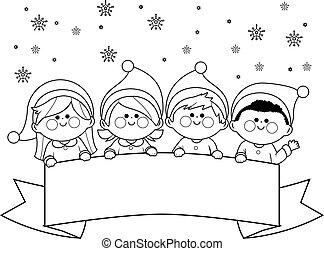 oldal, színezés, fehér, jelmezbe öltöztet, karácsony, tiszta, gyerekek, fekete, banner., vektor