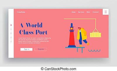 oldal, vektor, munkaszervezési, konténer, leszállás, hajó, karikatúra, ember, iparág, berakodás, tengeri, rakomány, banner., page., gyalogló, háló, kikötő, ábra, lakás, szállítás, website, globális, daru, világítótorony, yard.