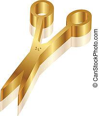 olló, ikon, vektor, arany, 3