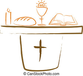 oltár, religiou, -, jámbor, lelki közösség