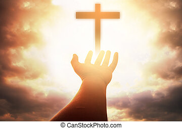 oltáriszentség, nyílik, pálma, emberi, isten, katolikus, feláll, repent, keresztény, húsvét, ételadag, fogalom, kölcsönadott, kézbesít, elme, háttér., pray., áld, worship., terápia