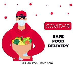 oltalmazó, coronavirus, páncélszekrény, élelmiszer, delivery., epidemic., hozott, covid-19., futár, maszk