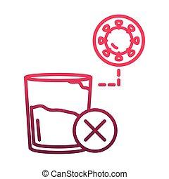 oltalmazó, lépés, gradiens, elterjed, ellen, megakadályoz, ikon, covid-19, coronavirus