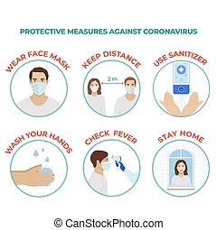 oltalmazó, lépés, illustration., ellen, coronavirus, vektor, covid-19, megelőzés