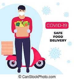 oltalmazó, páncélszekrény, élelmiszer, futár, epidemic., delivery., covid-19., maszk, hozott, coronavirus