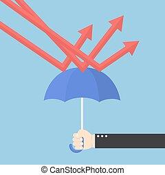 oltalmaz, esernyő, ábra, kéz, hanyatlás, üzletember, használ