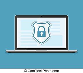 oltalmaz, fogalom, számítógép, érzékeny, laptop, data., desktop, belépés, security., vektor, tervezés, internet értékpapírok, adatok, vagy, .shield