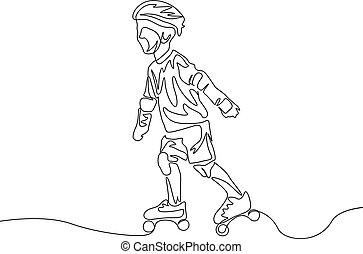 oltalmaz, rollerblading., folyamatos, theme., egy, kölyök, egyenes, sport, rajz, öltözék