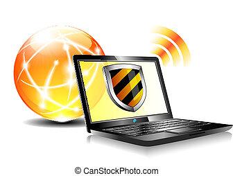 oltalom, antiviru, pajzs, internet