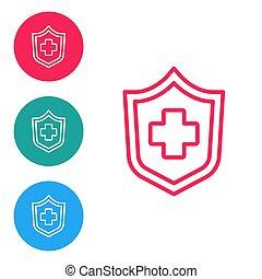 oltalom, buttons., fehér, türelmes, concept., elszigetelt, piros, ikon, biztonság, protection., oltalmaz, biztosítás, ikonok, karika, állhatatos, vektor, háttér., egészség, egyenes, biztonság