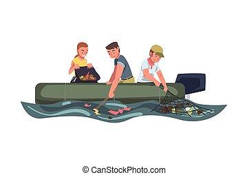 oltalom, emberek, tó, vagy, folyó, ábra, tenger, ökológia, csónakázik, fogalom, szemét, takarítás, gyűjtés, gyakornok, szemét, vektor, karikatúra