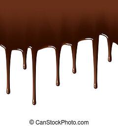olvadt, csöpögő, csokoládé