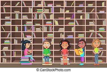 olvas, könyvtár, mellett, könyvszekrény, előjegyez, gyerekek