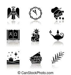 omega, glyph, mária, alfa, set., narratives, 30, árnyék, vektor, angyal, elszigetelt, tövis, ezüst, ikonok, csillag, branch., karácsony, körmök, biblia, lámpa, pálma, szűz, fekete, koszorú, gyermekszoba, ábra, csepp, érmek