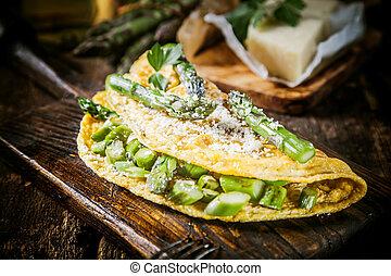 omlett, szervál kosztol, étvágygerjesztő, tál, legfontosabb, tojás