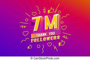 online, ön, csoport, őt emberek, transzparens, társadalmi, kíséret, 7, hálát ad, millió, boldog, ünnepel, vektor