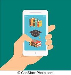 online, birtok, vektor, telefon, kéz, nevelési, távoli, app, oktatás, fogalom, e-learning, screen., style., mozgatható, lakás