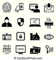 online, biztonság, cybersecurity, ikon, állhatatos