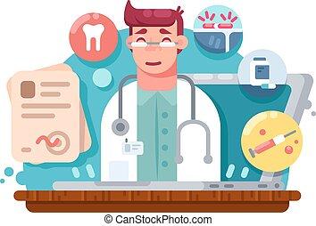 online, szolgáltatás, orvos
