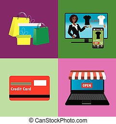 online támasz, állhatatos, fogalom, bevásárlás, ügy, internet
