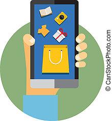 online, telefon, internet bevásárlás, vagy, mozgatható