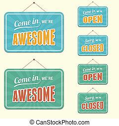 open/closed, aláír