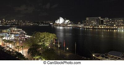 opera épület, kulcsok, sydney, éjszaka, kör alakú