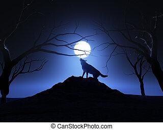 ordító, 3, farkas, render, hold