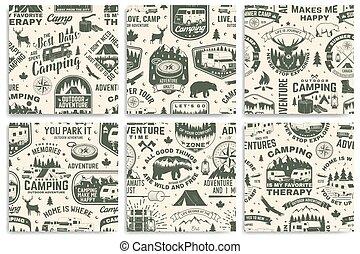 organizmusok, nyár, kúszónövény, tábortűz, erdő, nyomdászat, állhatatos, rv, természetjárás, sátor, tábor, tervezés, silhouette., vector., hegy, kempingezés, motívum, retro, seamless, háttér., kiránduló