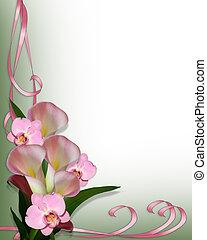 orhideák, calla, határ, liliomok