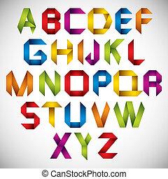 origami, mód, betűtípus, színes, letters.