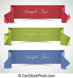 origami, szalagcímek, tervezés, három