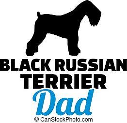 orosz, árnykép, apuka, terrier, fekete
